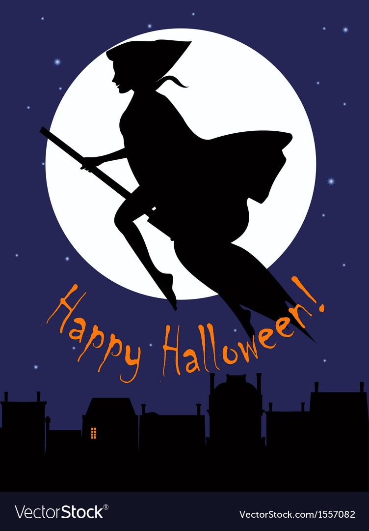 Witch on a broom silhouette