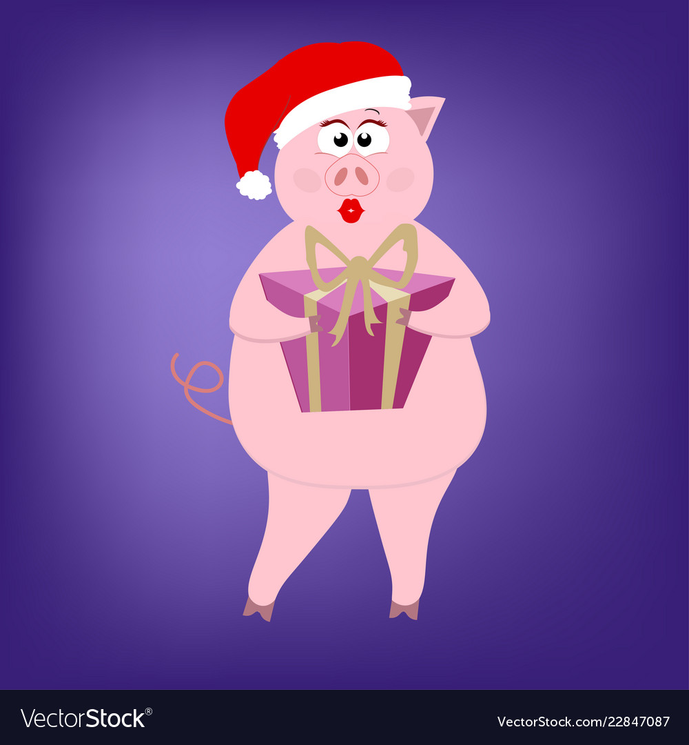 Beautiful pink pig girl holding a gift box in a