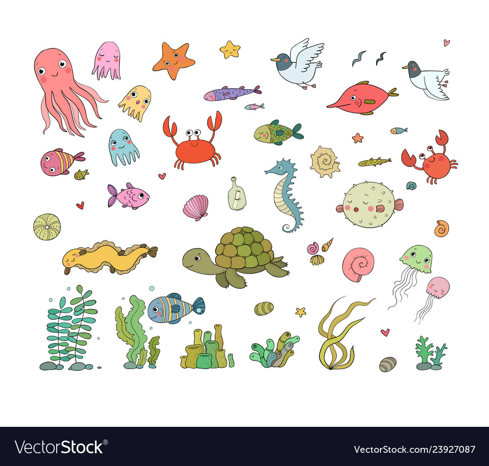 Big set of marine sea theme cute cartoon turtle