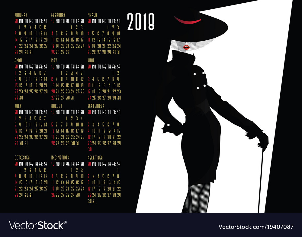 Calendar With Fashion Girl In Style Pop Art Vector Image