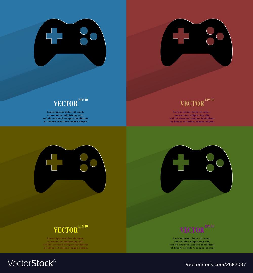Color set Gaming Joystick Flat modern web button