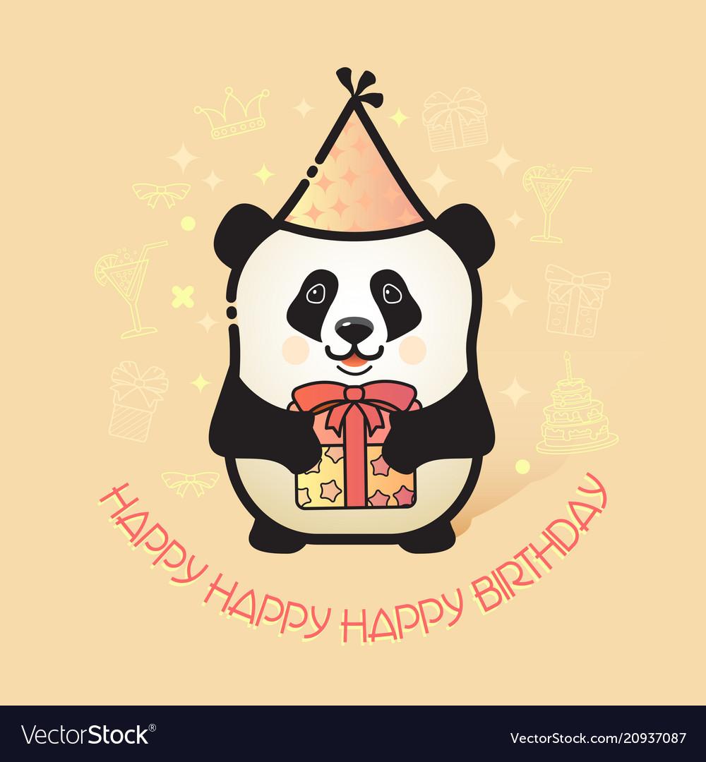Cute bear panda holds a gift happy birthday card