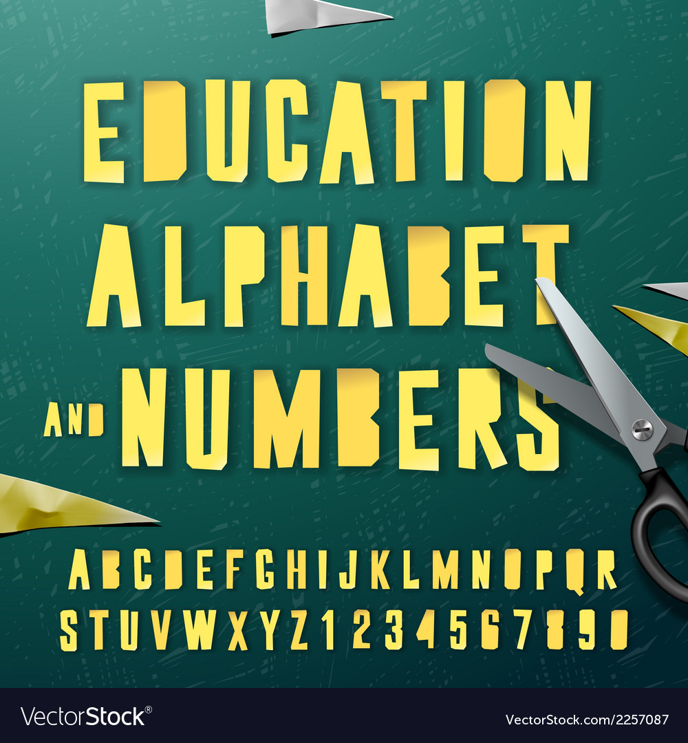 Education alphabet and numbers cut out from paper