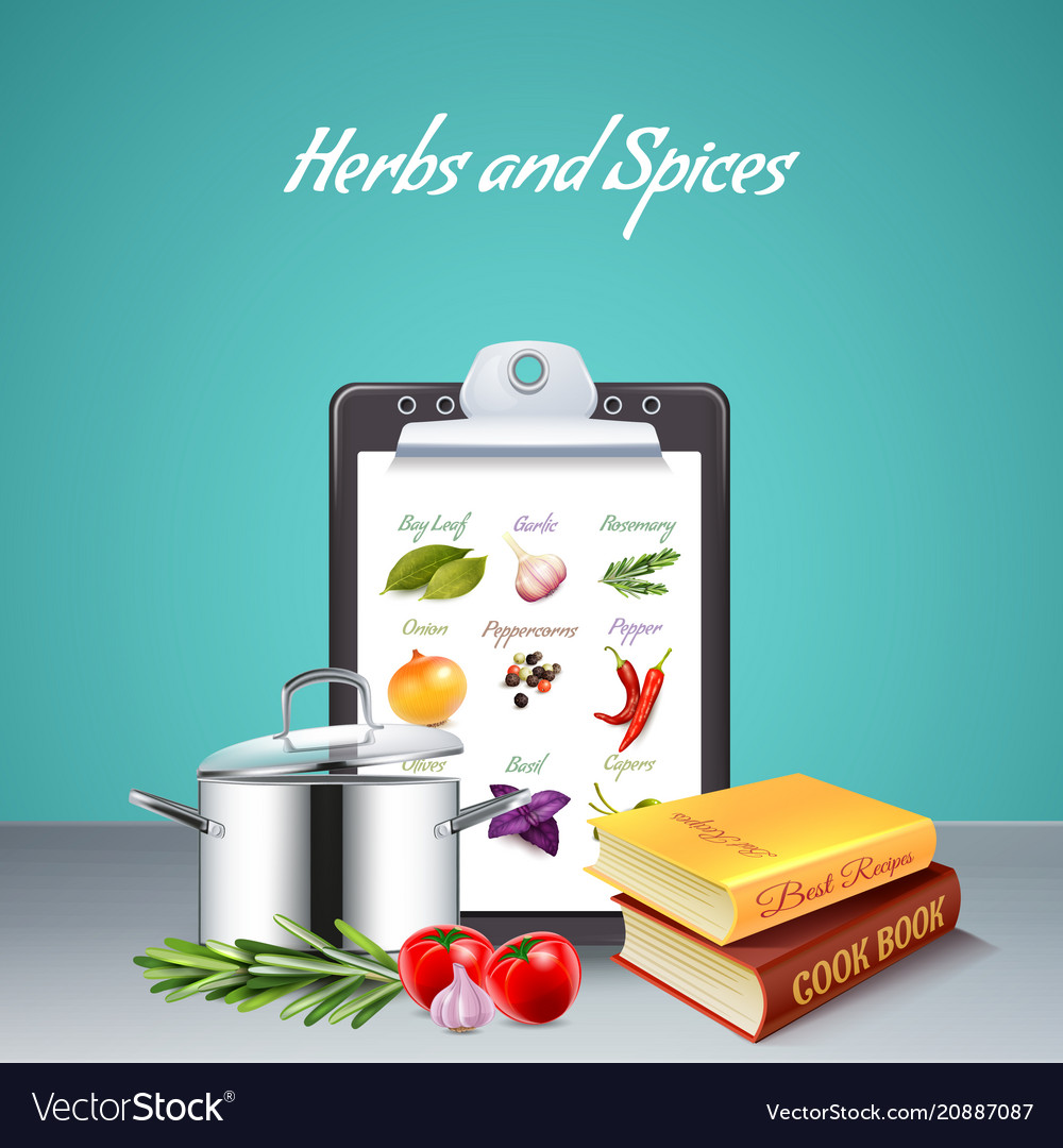 Herbs and spices realistic background Royalty Free Vector