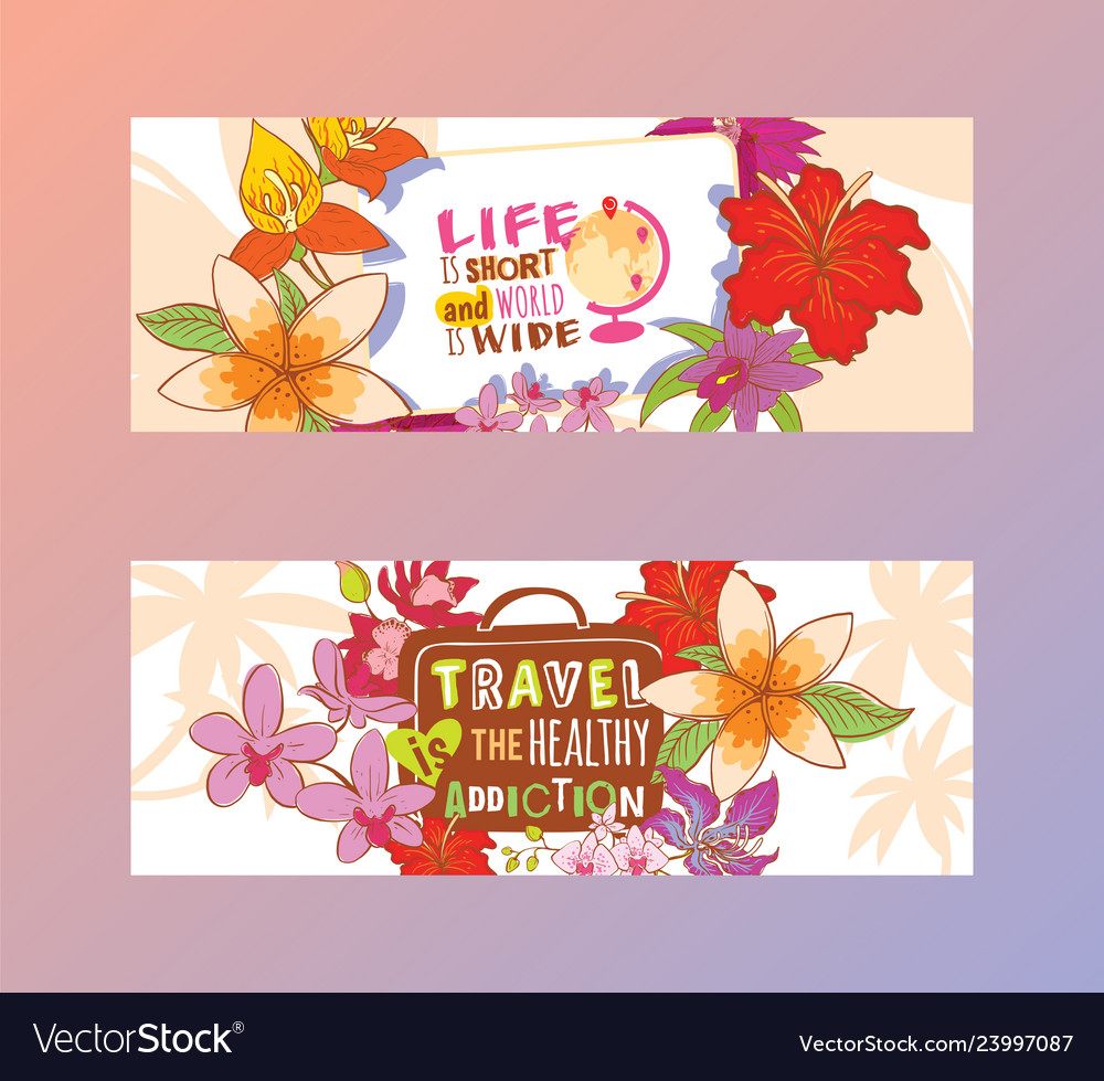 Travelling concept set of banners life is short