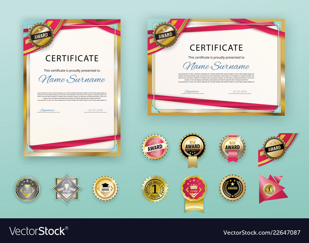 white modern certificates with abstract red ribbon