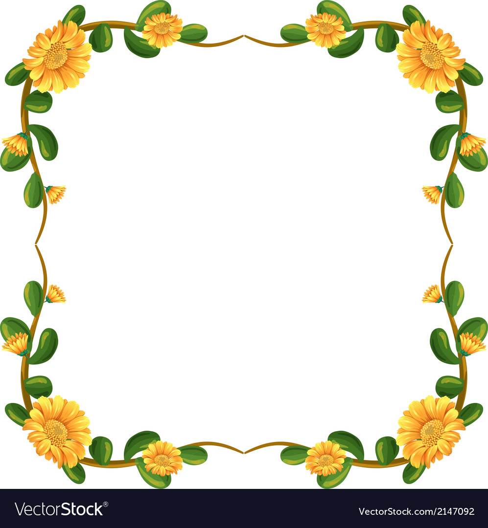 a floral border with yellow flowers royalty free vector vectorstock
