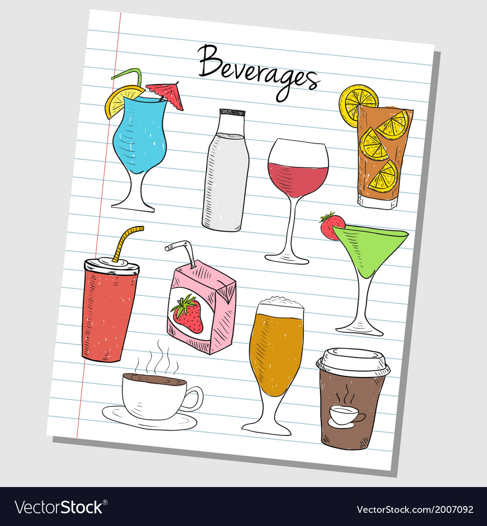 Beverages doodles lined paper colored vector image