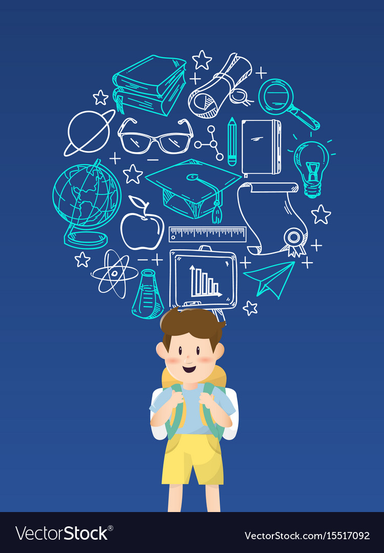 Boy student with education icons vector image