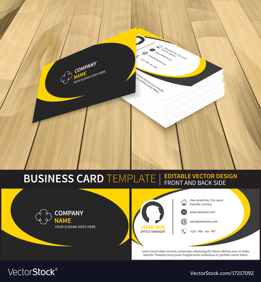 Business card template editable design with front vector image wajeb Gallery