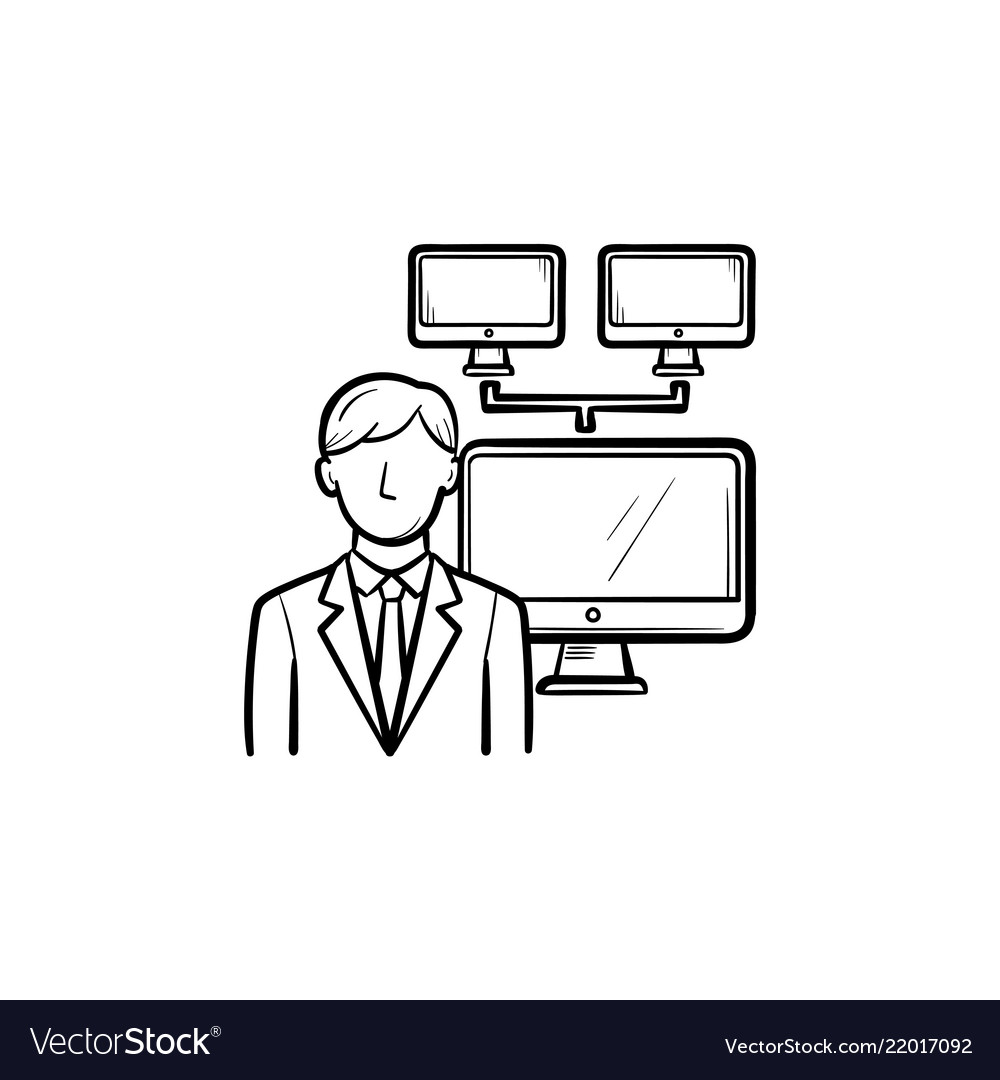 Businessman with computer network hand drawn