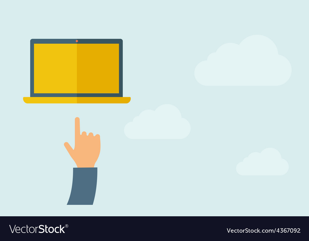 Hand pointing at blank screen of laptop