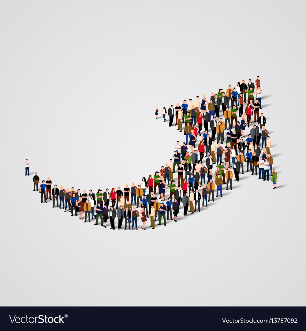 Large group of people in the arrow shape