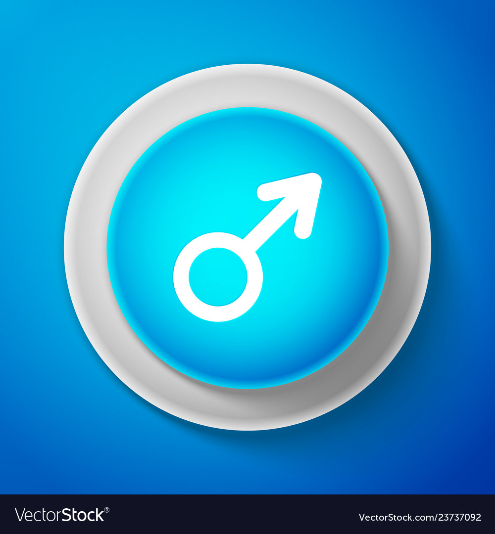 Male gender symbol icon on blue background