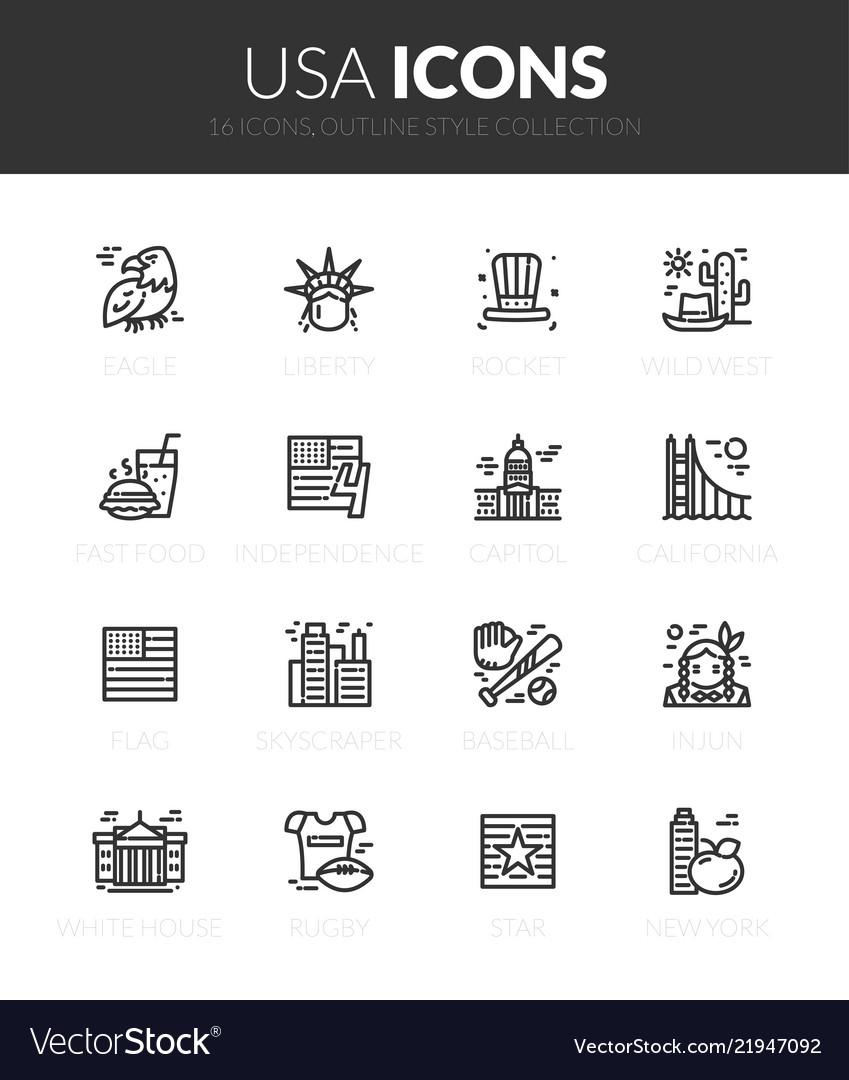 Outline black icons set