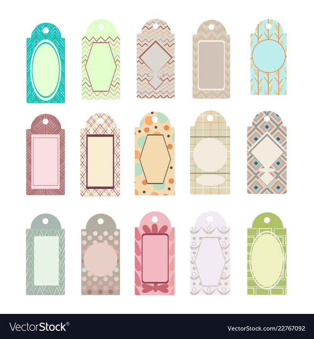 set labels and gifts with decorative patterns vector image