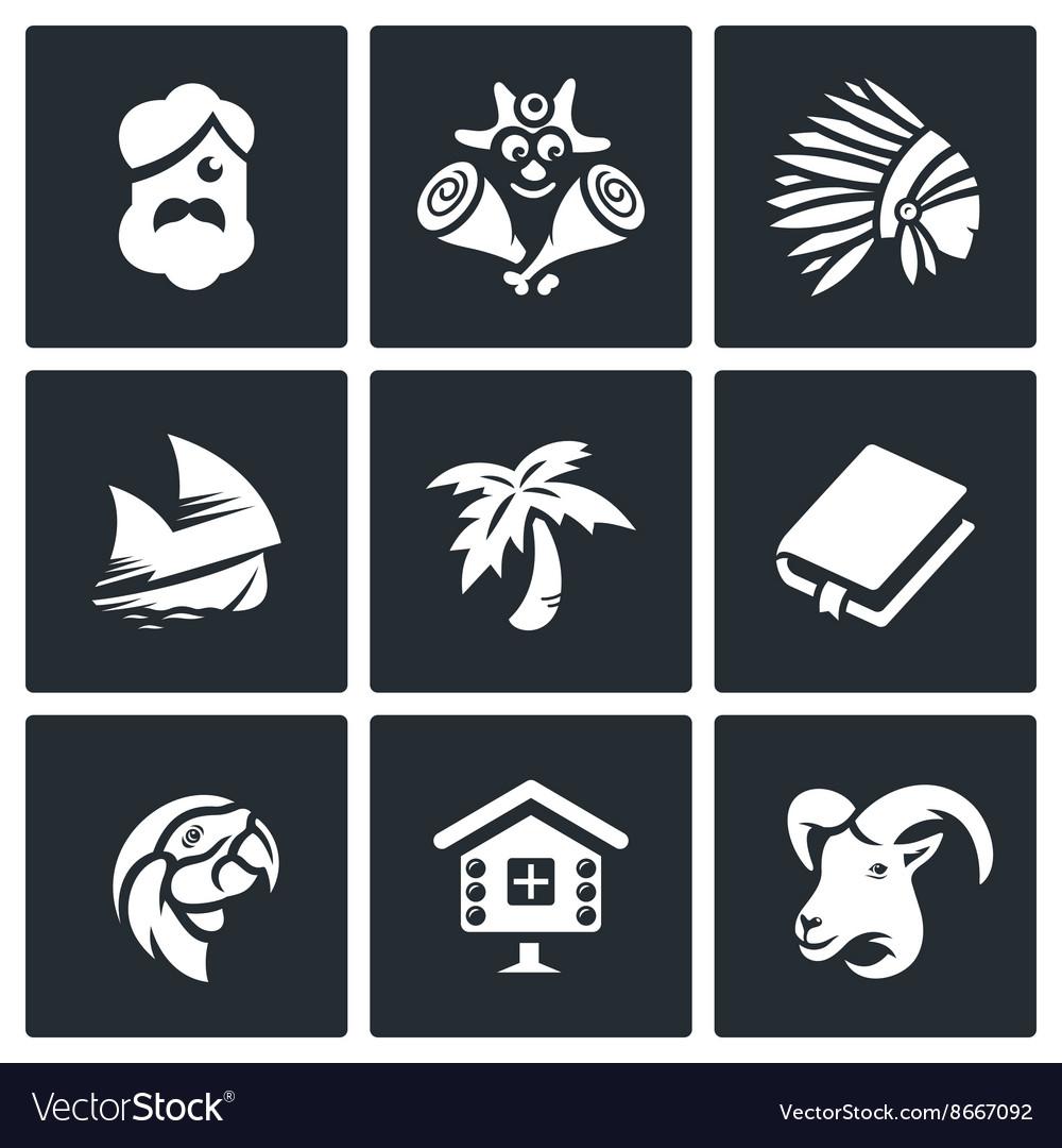 Set of Life on Desert Island Icons