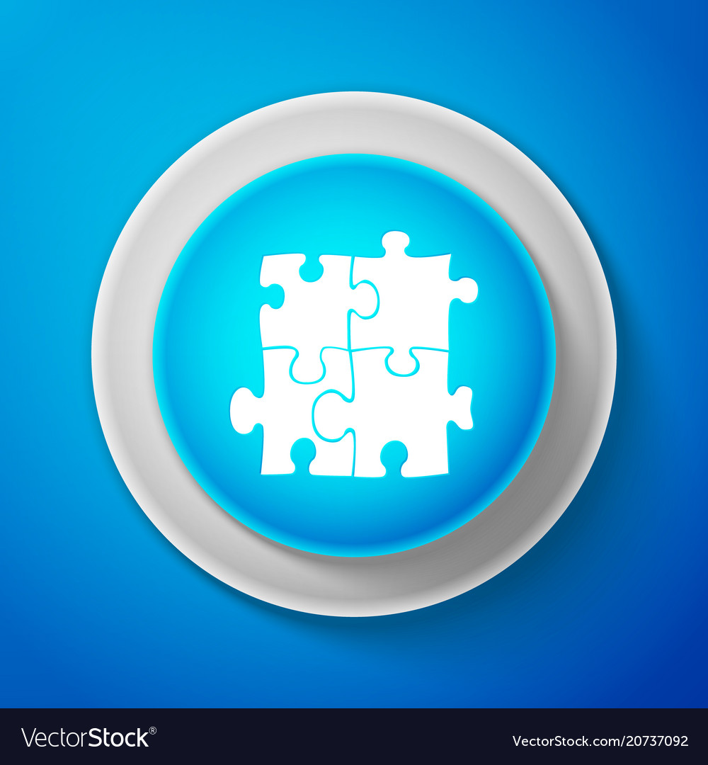 White piece of puzzle icon on blue background