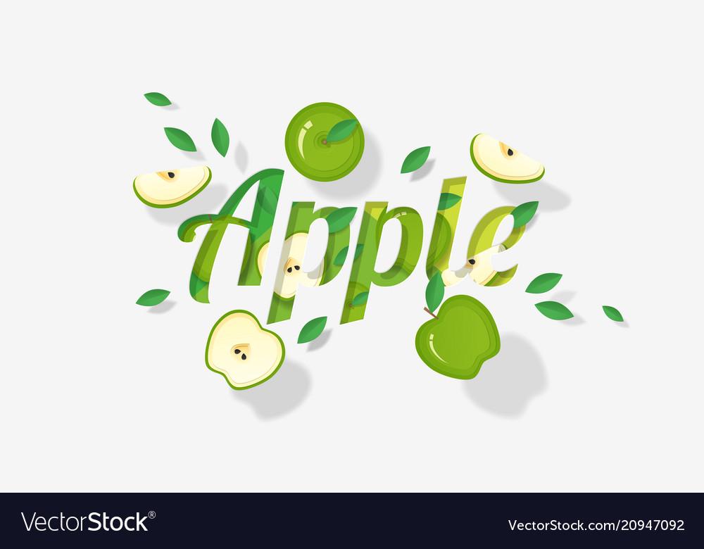 Word apple design in paper art style