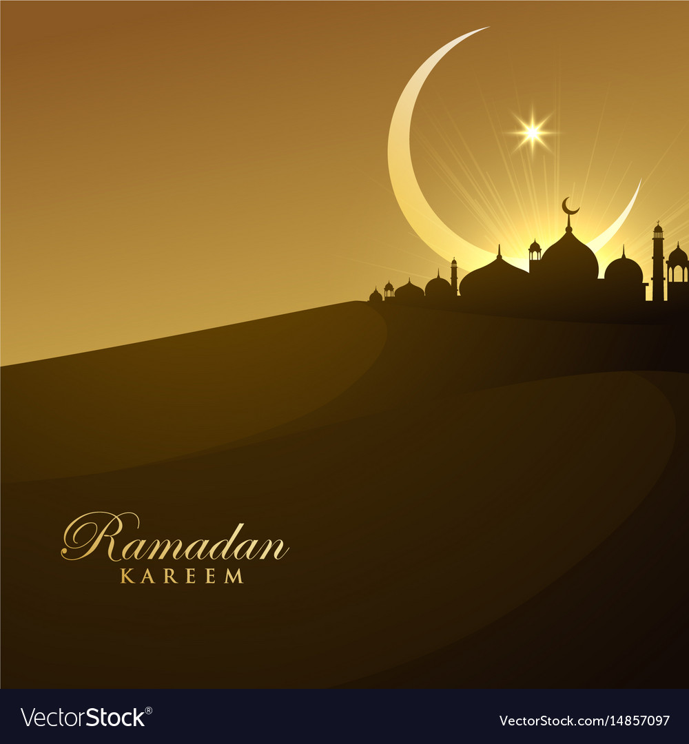Beautiful mosque silhouette in night with