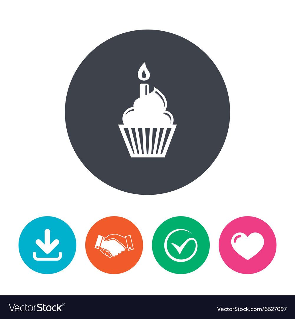 Birthday Cake Sign Icon Burning Candle Symbol Vector Image