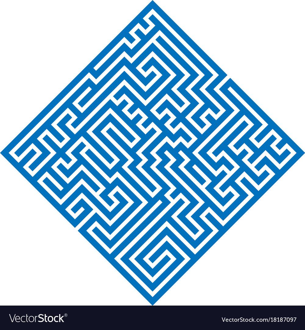 Blue rhombus maze labyrinth flat