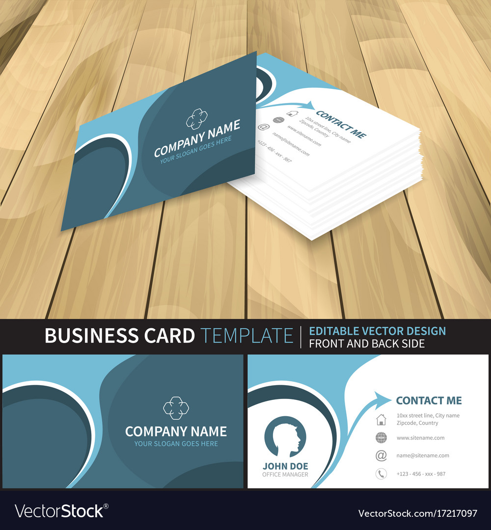 Business card template editable design with front vector image fbccfo Choice Image