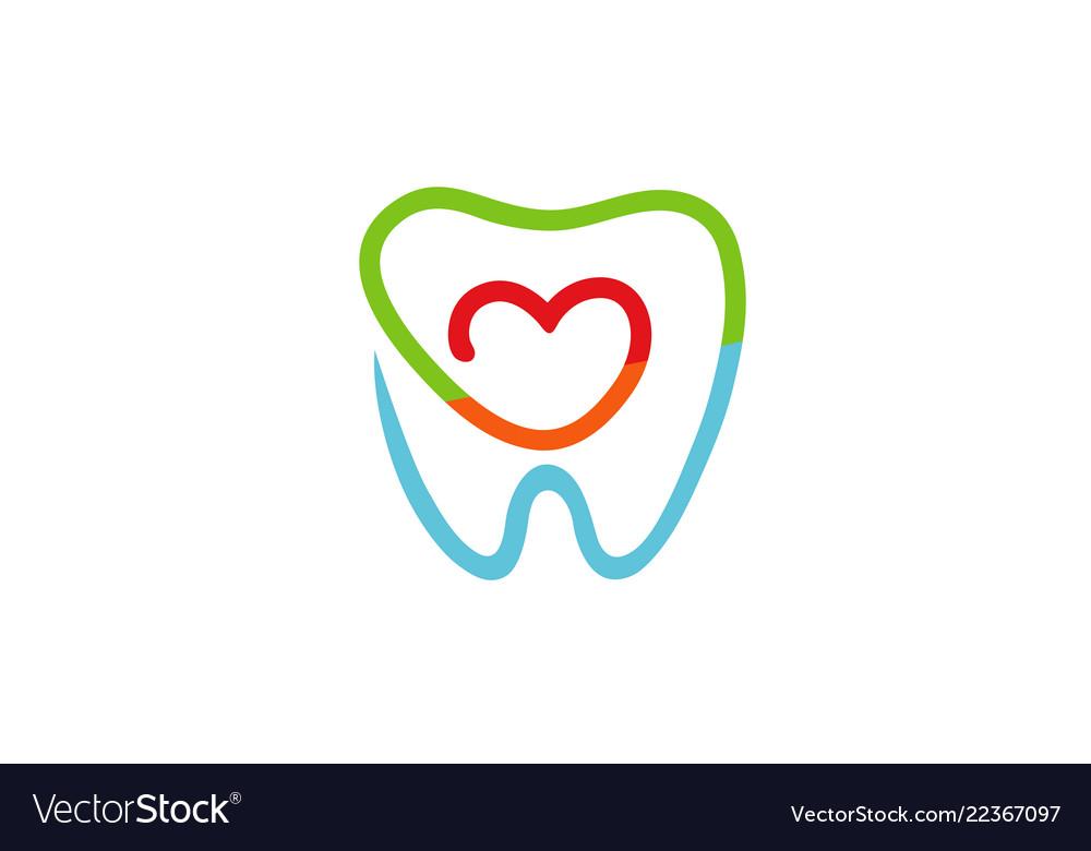 Creative teeth heart inside logo