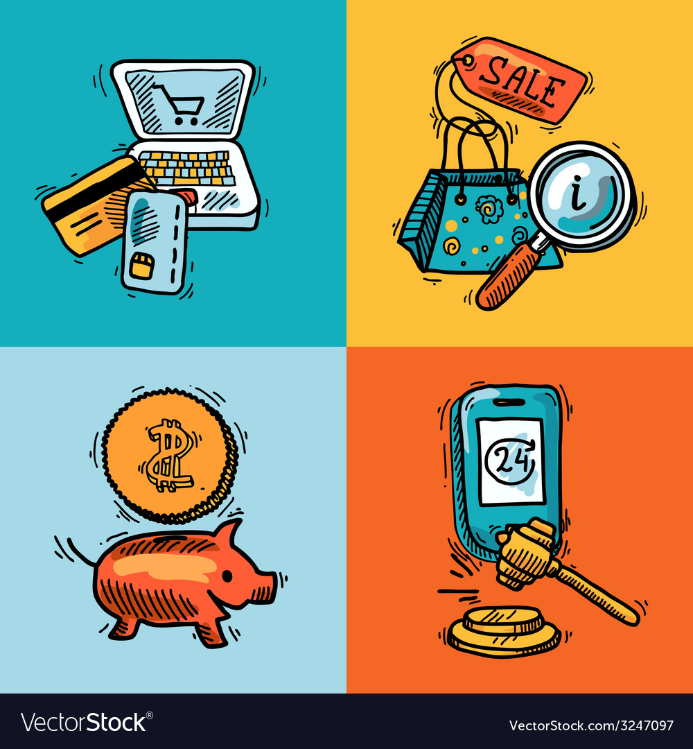 E-commerce design sketch concept vector image
