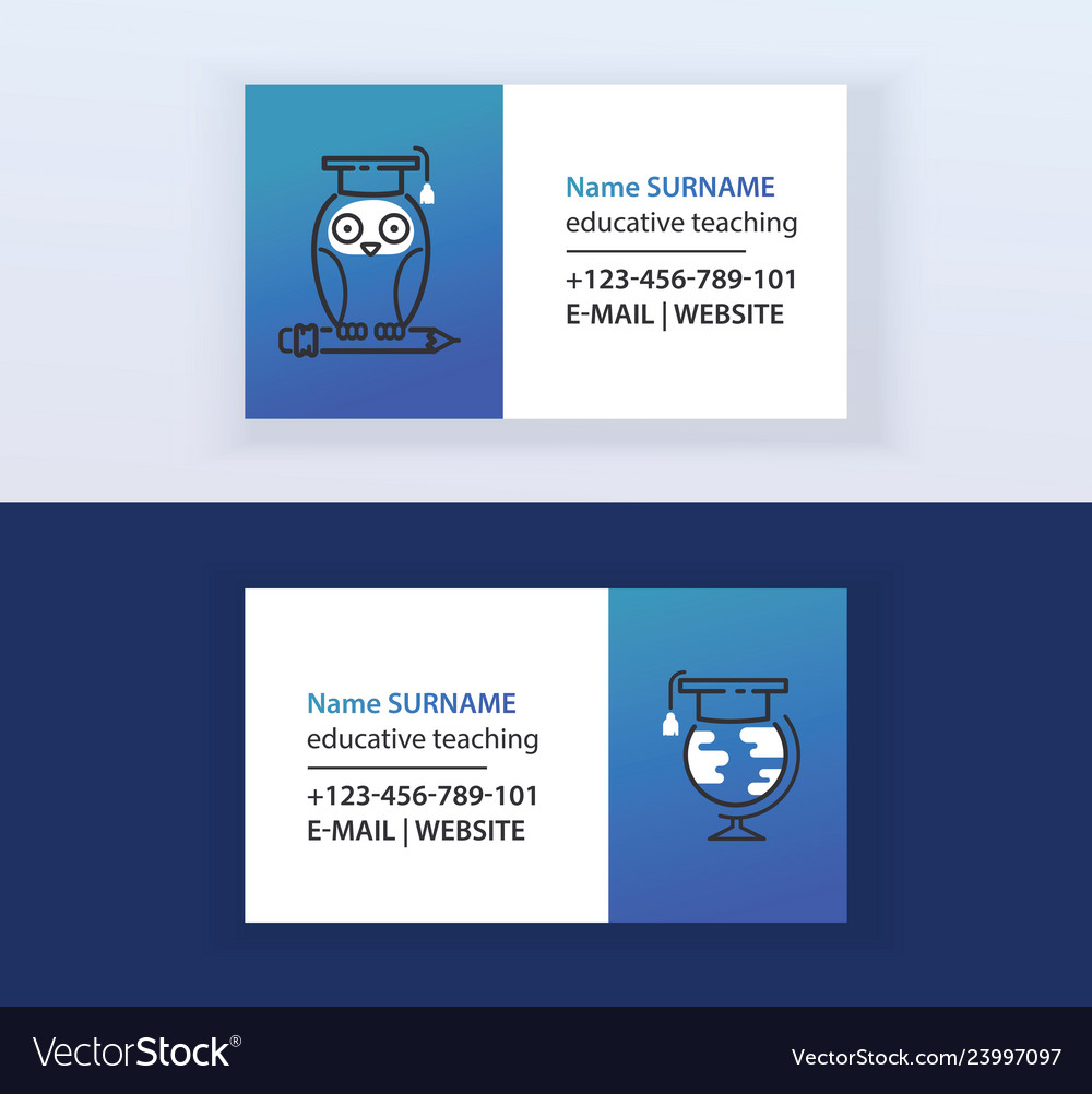 Educative teaching set of business cards online