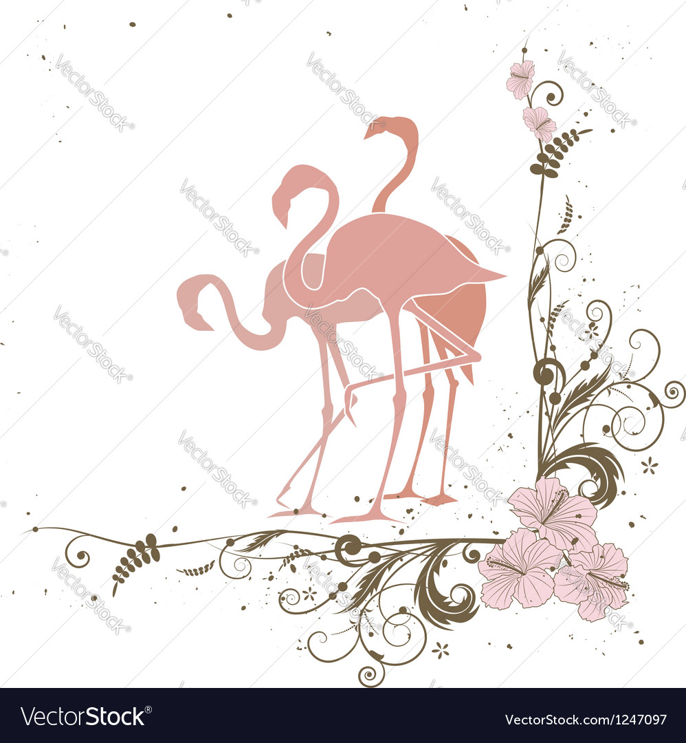 Flamingo and flowers