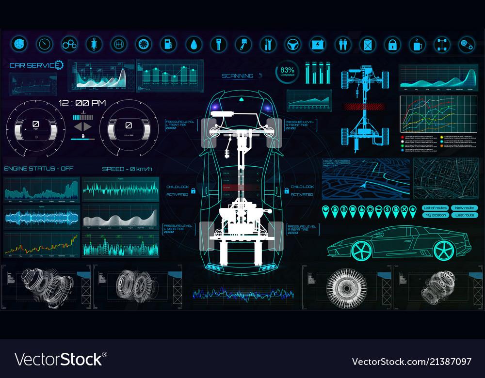 Futuristic user interface car service hud