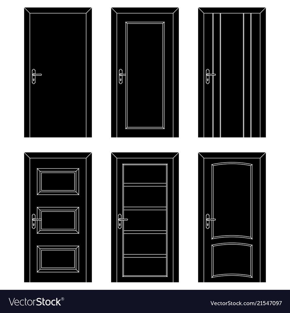 Interior doors black flat set of designs