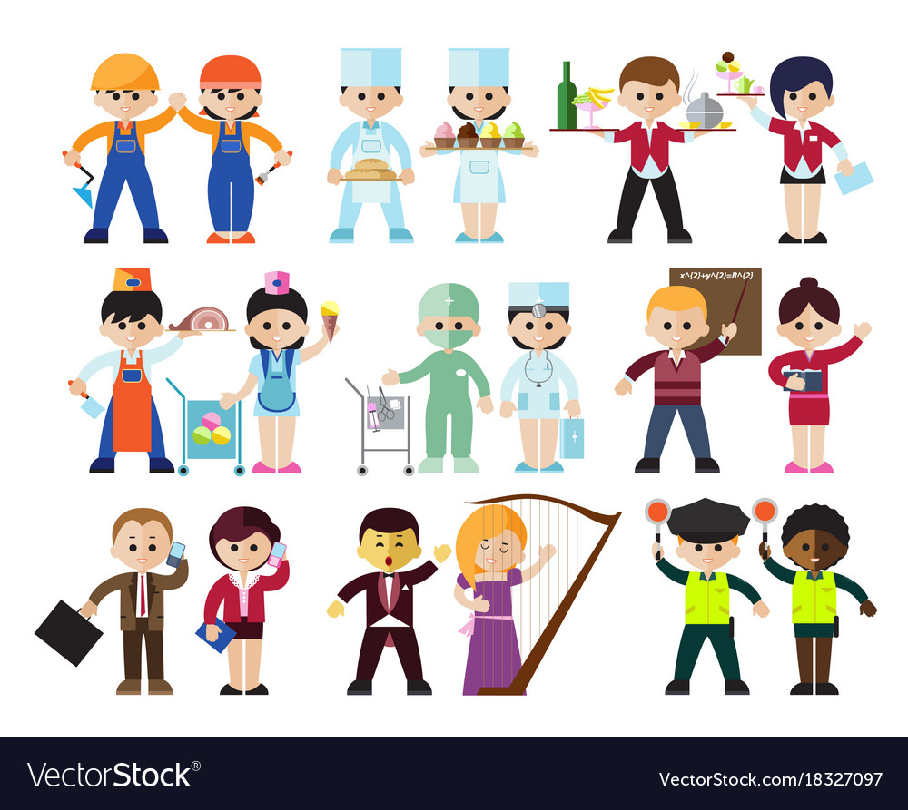 Kids professions characters set