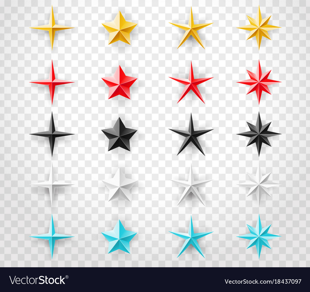 Stars set of different colors isolated on