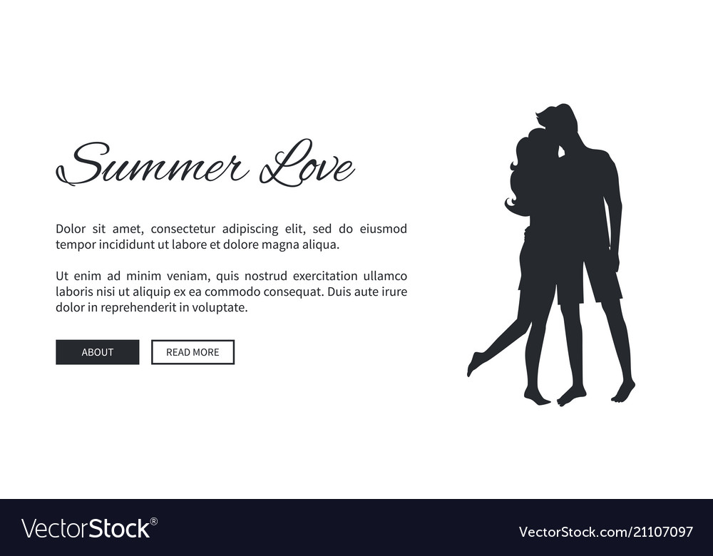summer love template poster with couple silhouette vector image