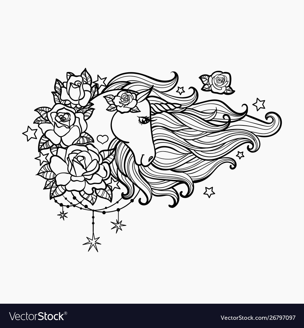 Unicorn with a long mane and roses hand drawn