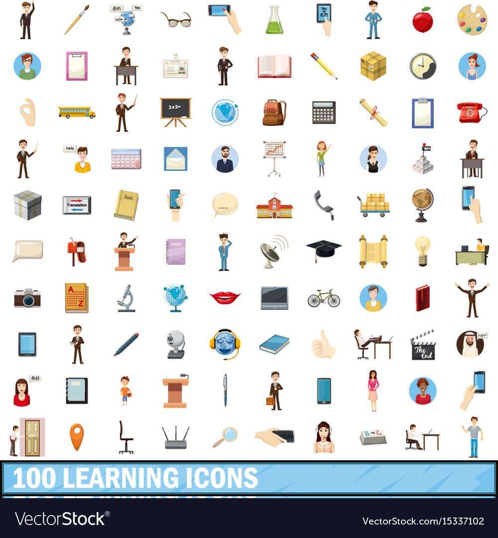 100 learning icons set cartoon style