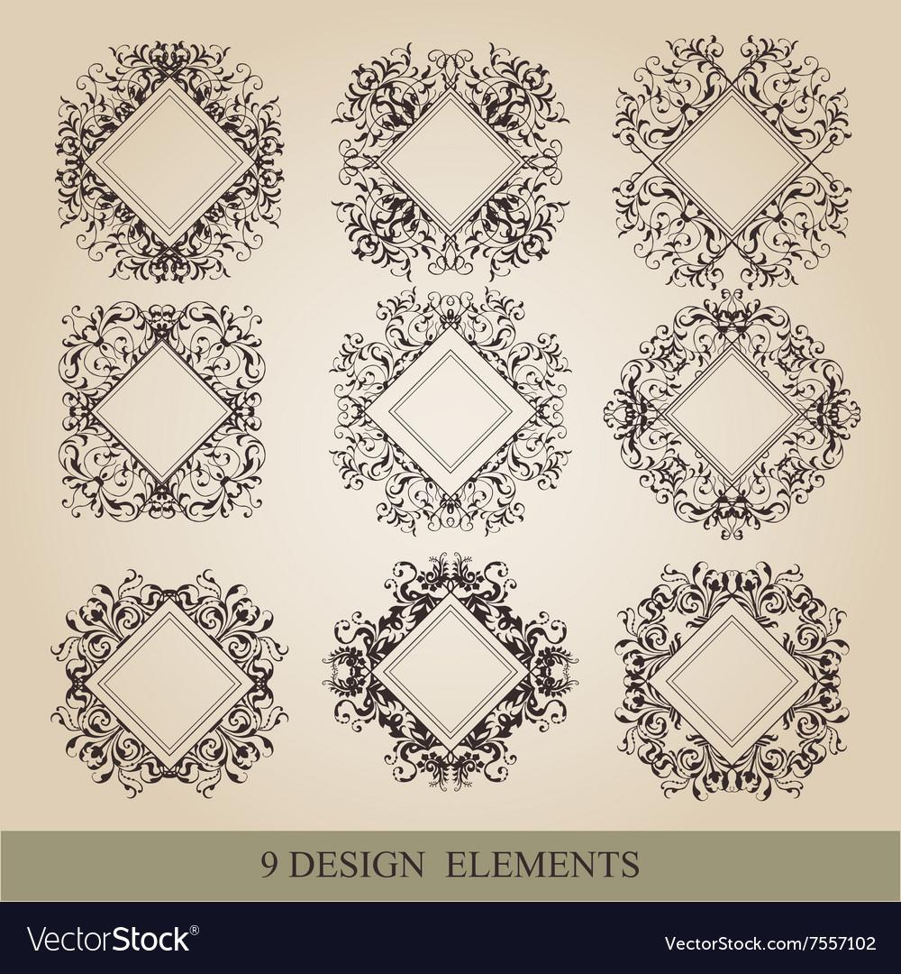 Calligraphic elements vintage set frame