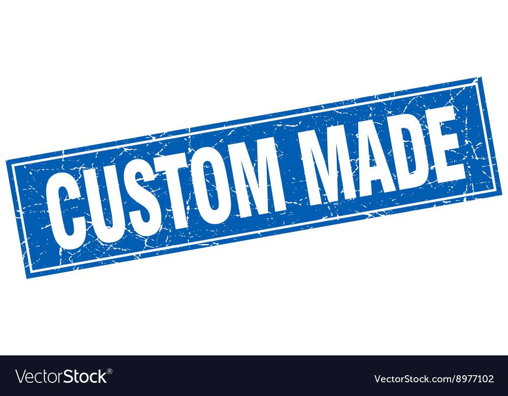 Custom made blue square grunge stamp on white