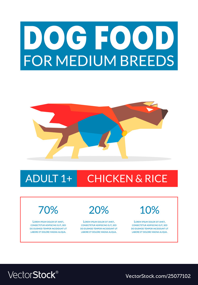 Dog Food Banner Template For Pets Food Packaging Vector Image