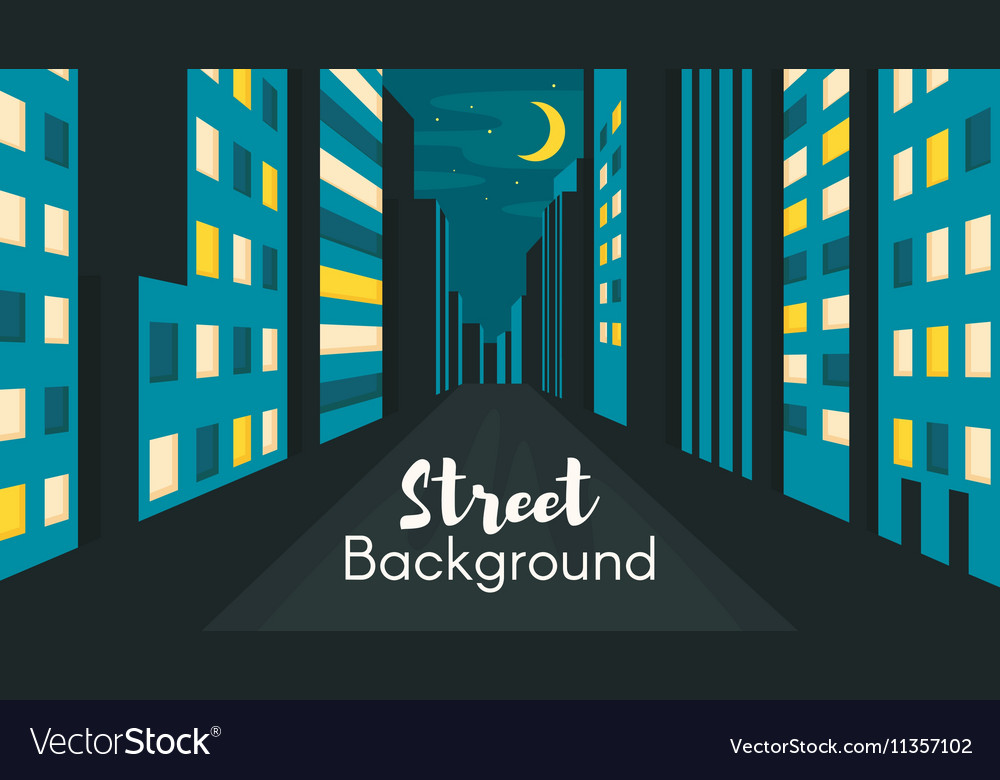 Flat style of night city street