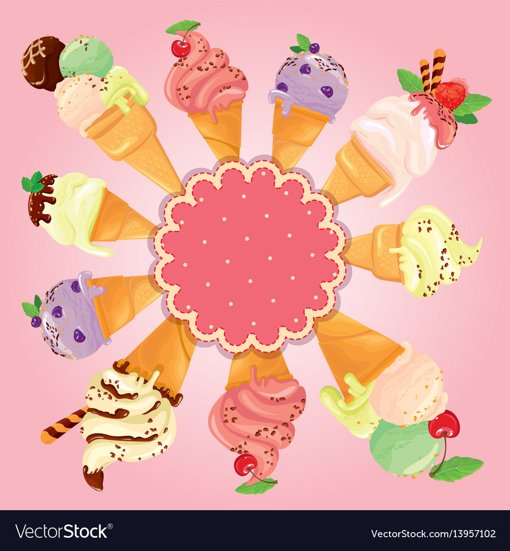 Greeting card with round frame and ice cream cones