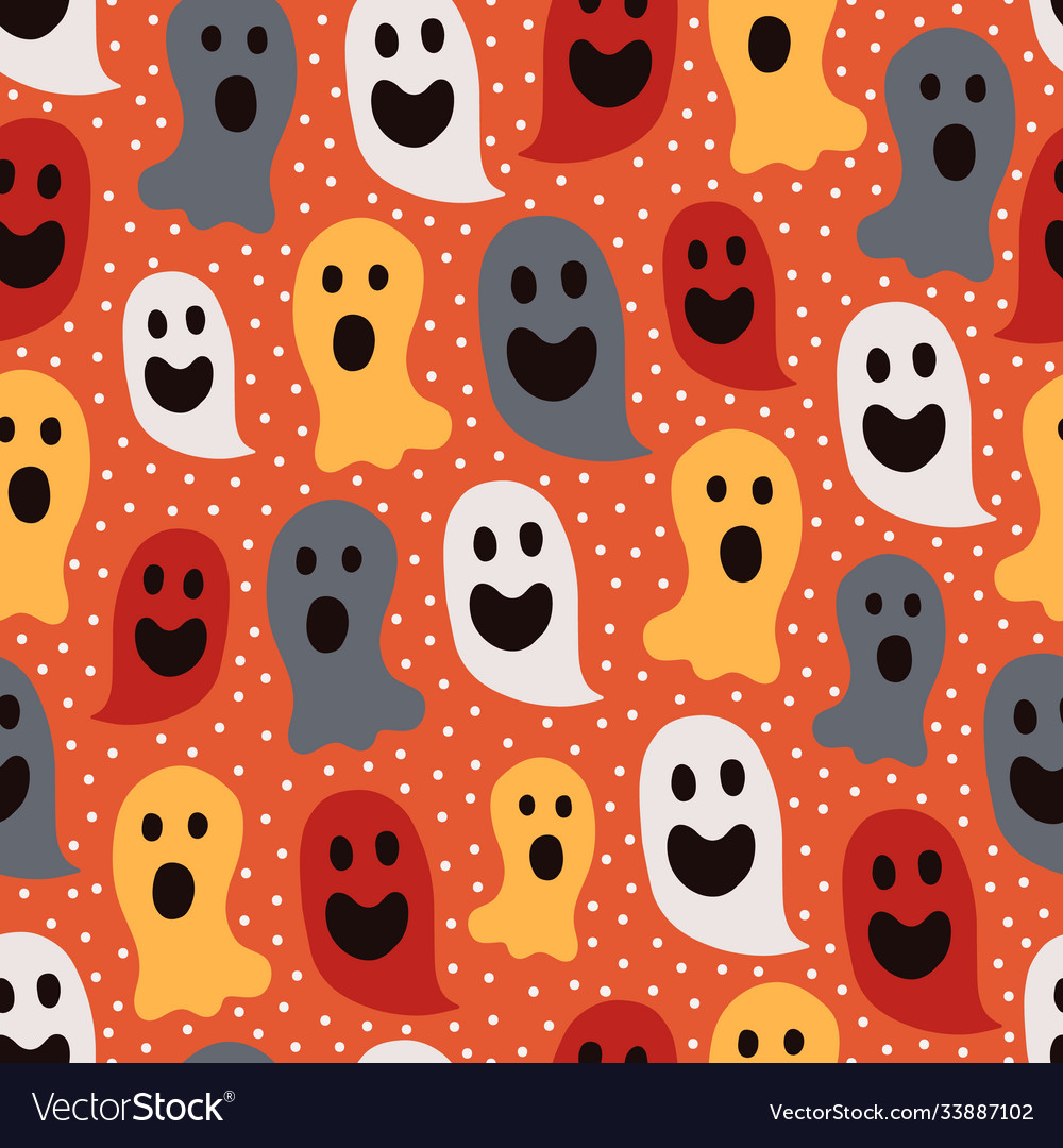 Halloween seamless pattern with various ghosts