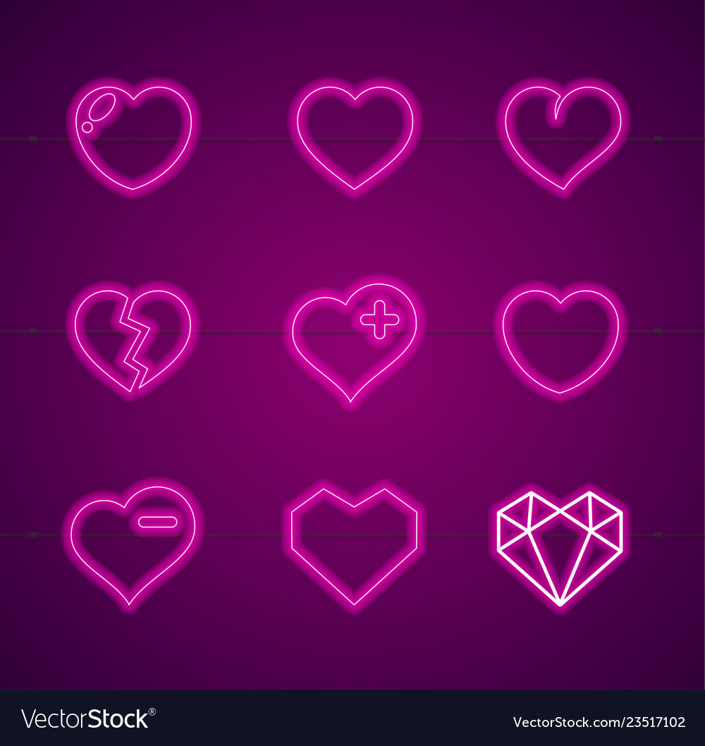 Heart neon signs thin line icon set