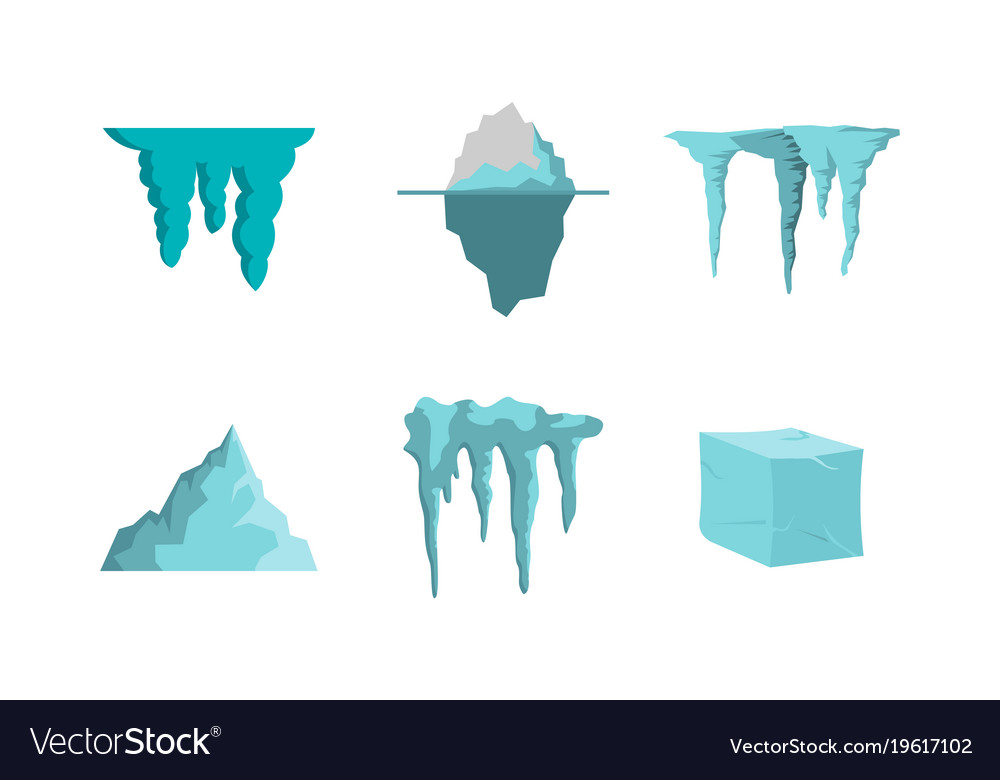 ice icon set flat style royalty free vector image vectorstock