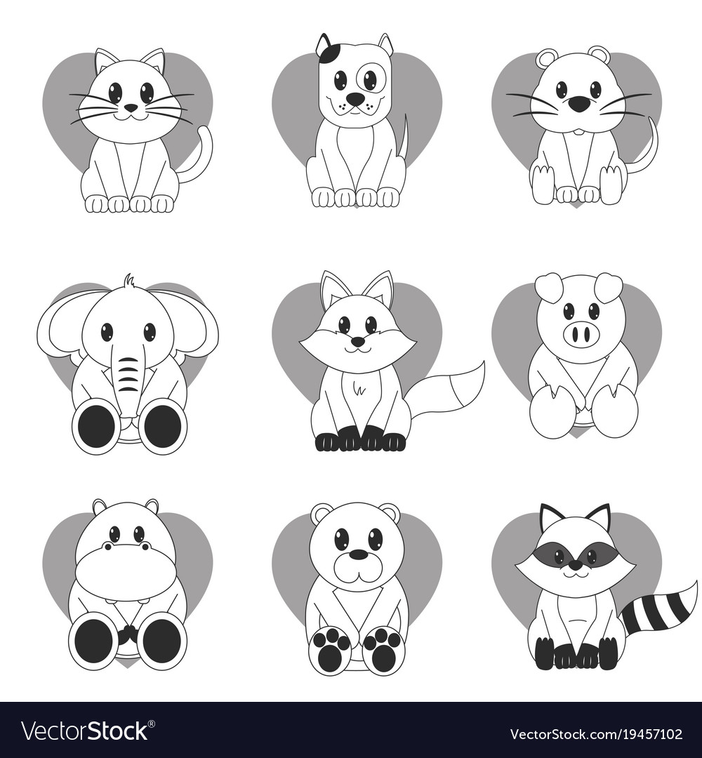 Icon set cartoons design