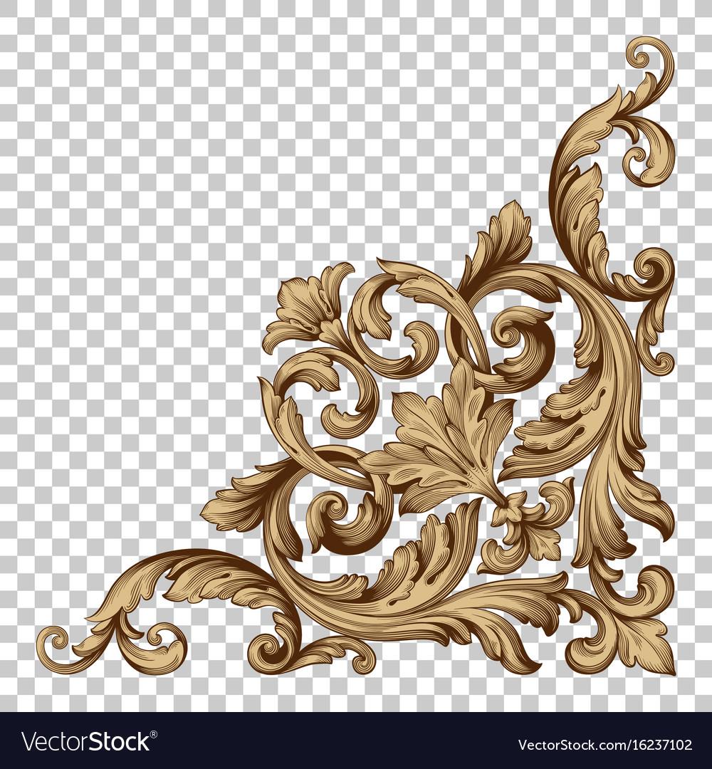 Isolate corner ornament in baroque style
