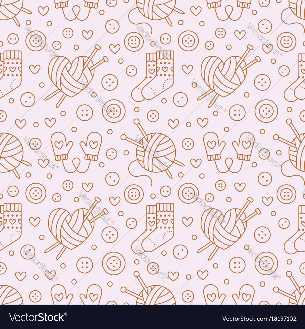 Knitting Crochet Seamless Pattern Cute Royalty Free Vector