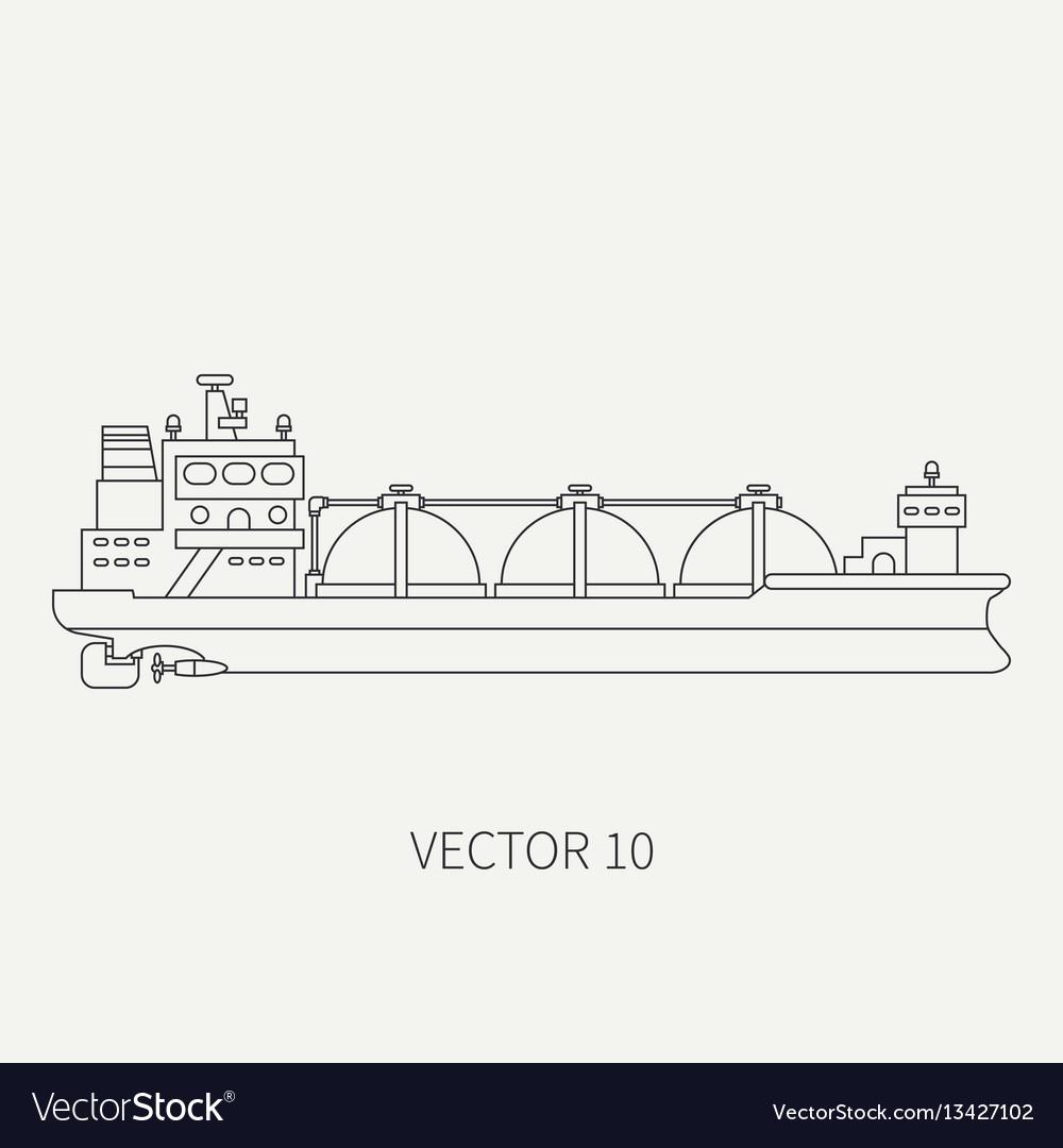 Line flat retro icon ocean tanker ship
